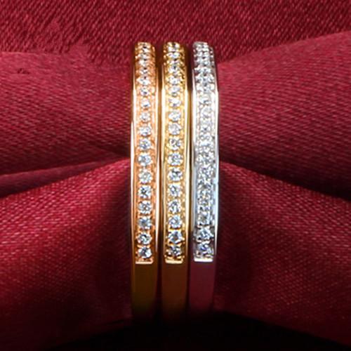 THREEMAN Semi Mount Band Wedding Ring para mujer Tres plata esterlina combinada en tres colores Color dorado Joyas únicas Novia