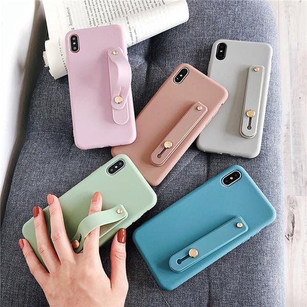 Ремешок для iPhone 8 7 6 6s Plus X XR XS Max 8plus мягкий чехол TPU Candy Color Cover с браслетом