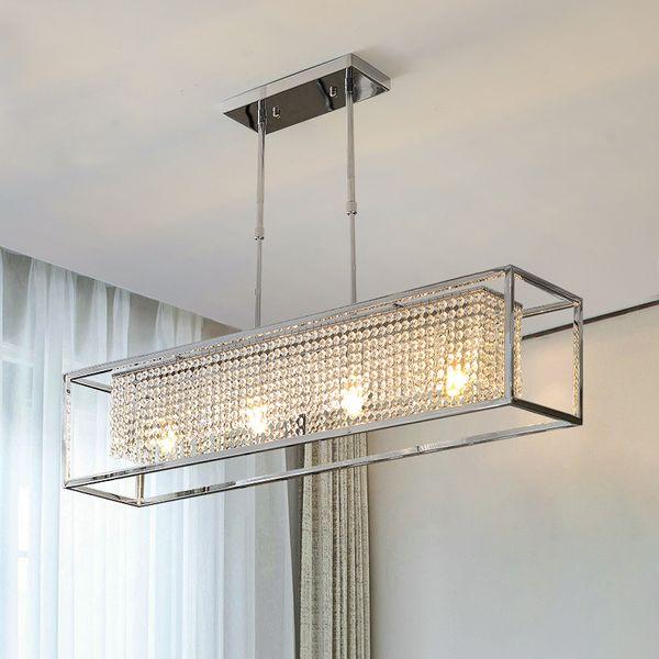 Lampade ristorante rettangolare lampadario a LED in acciaio inox cromato cristallo moderno lampadario di lusso lampada a sospensione albergo E14