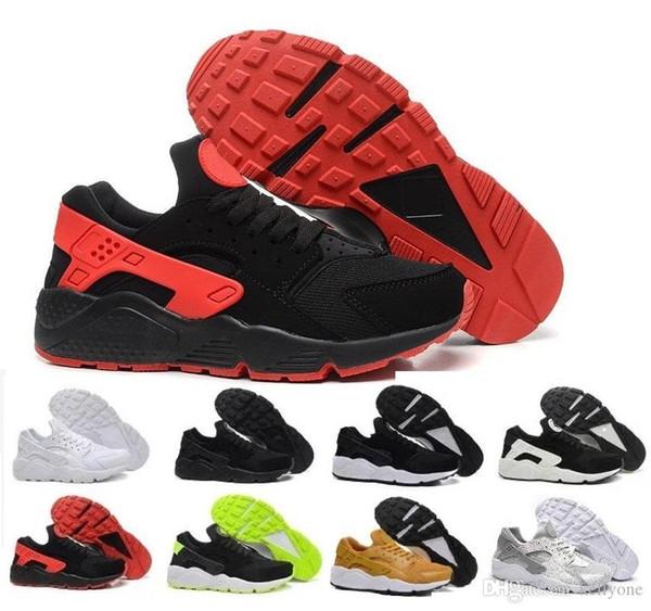 Yüksek Kaliteli Hava Huarache Erkekler Kadınlar Siyah Altın Üçlü Sneakers Huarach İçin Ayakkabı Koşu 1 Atletik Eğitici huraches Spor Ayakkabı 36-45