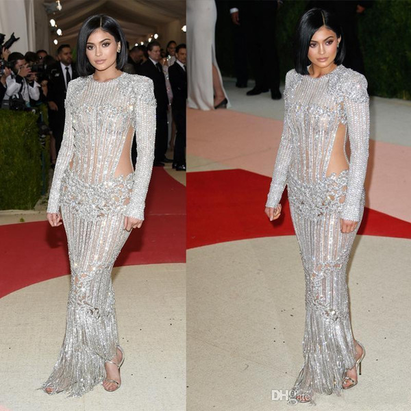 2019 New Kendall Jenner Kylie Jenner Met Gala 2018 Red Carpet Fashion Celebrity Dresses Cutaway Illusion Beaded Evening Gowns