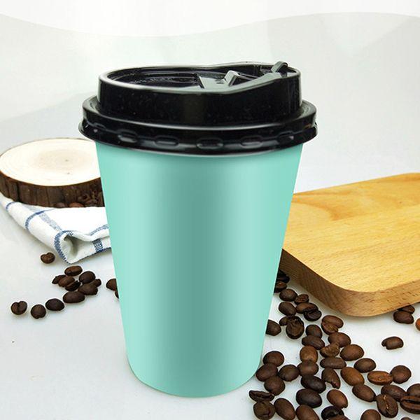 200pcs bleu épais tasse de café tasse de café au lait lait thé boisson chaude boisson à emporter tasses d'emballage avec des couvercles