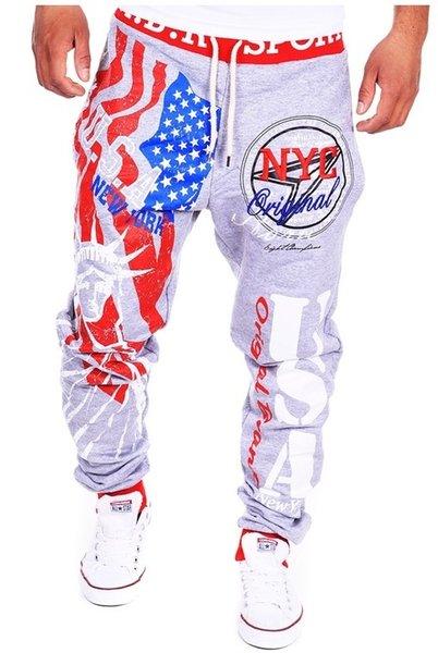 Moda-Tasarım Pantolon Erkekler Hip Hop Harf Baskılı Pantolon Siyah Gri Günlük Pantolon Pantolon Boyut M-2XL