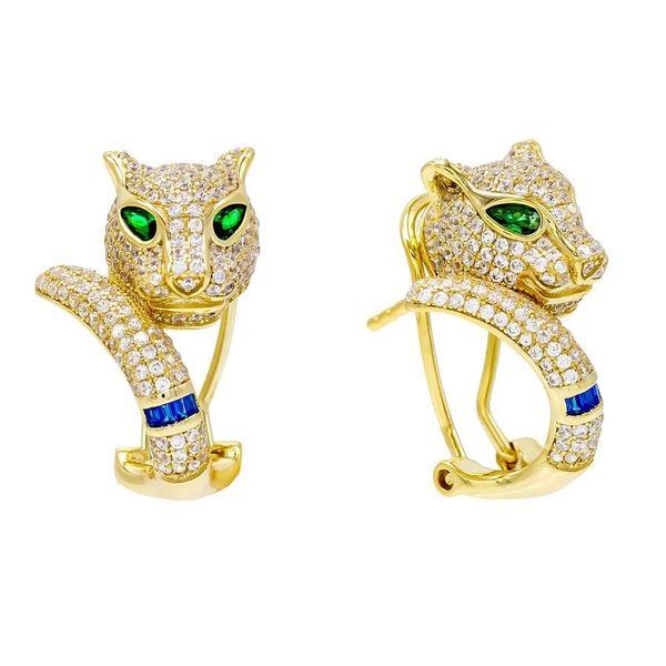 Cool Animal Design Mikro pave Zirkonia cz Leopard Ohrring Luxus cz bling Frauen Schmuck