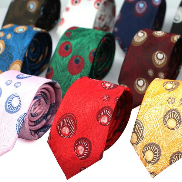 Renkli erkek Kravat Polyester Tüy Jakarlı 6 cm Dar Baskı Elbise Parti Erkekler Düğün Groomsmen Damat Kravat için Kravat Hediyeler