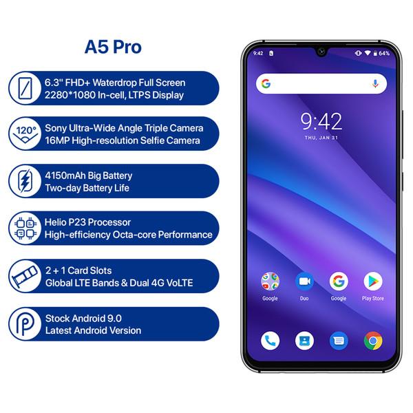 UMIDIGI A5 PRO Versão Global Android 9.0 Octa Núcleo 4 GB 32 GB 6.3 'FHD + 16MP Câmera Tripla 4150 mAh carga Rápida Celular Smartphone