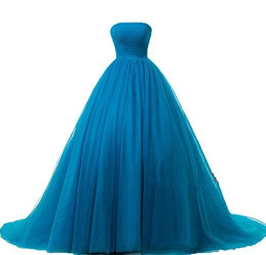 2019 New Blue Ball Gown Quinceanera Dresses Beaded Floor-Length Celebrity Formal Party Gown Vestidos De 15 Anos QC1289