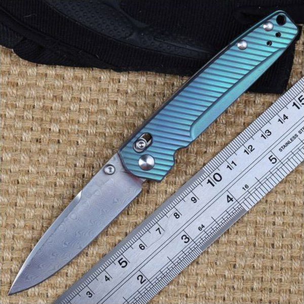 Bench BM Butterfly Knife 485-171 Valet Axis Lock Folding Knife Drop Point Blade Damascus Steel Titanium Handle Survival Camping Edc Gear