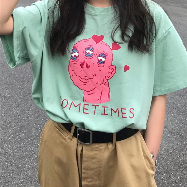 Harajuku clothing verão t-shirt das mulheres estilo coreano Ulzzang Impresso T-shirt Engraçadas Meninas Casuais Top de Manga Curta Tshirt Feminino S403