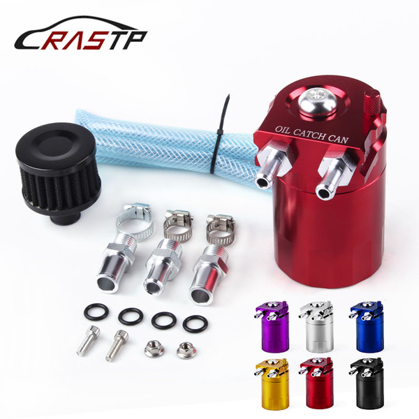 RASTP-Aluminum Racing Baffled Car Oil Catch Reservoir Breather Can Tank With Filter Universal RS-OCC009