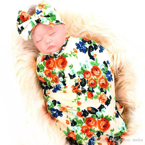 80*80cm kids pink Flower full Print Baby Receiving Blankets Swaddling Cotton Blankets & Baby Big Bow Headband Photography props 4colors