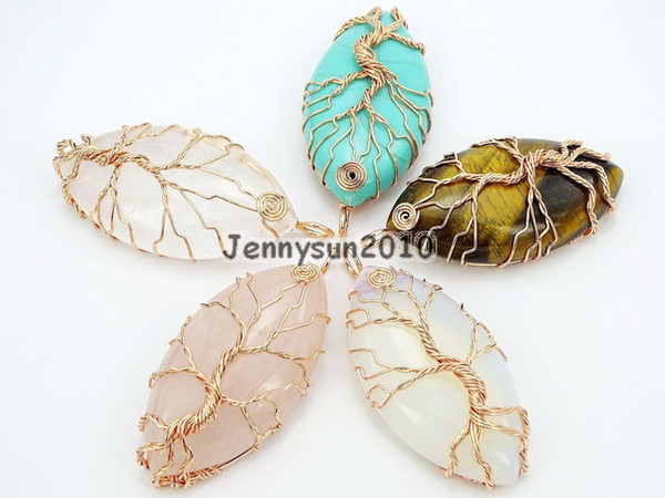 Natural Gems Stone Reiki Chakra Beads Tree of Life Marquise Shape Copper Pendant Necklace Jewelry Making 10Pcs/Pack