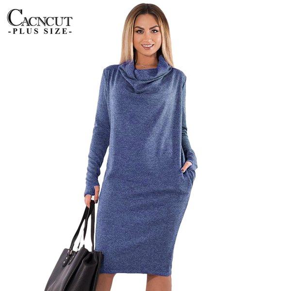 5xl 6xl Plus Size Winter Dress 2019 Vintage Big Size Women Office Dress Large Size Abiti da festa femminile con tasche da lavoro Q190402