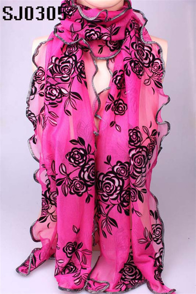 wholesale Wholesale Brand New Products Hot Selling Chiffon Flower Long Soft Silk Rayon Scarf Wrap Shawl Stole For