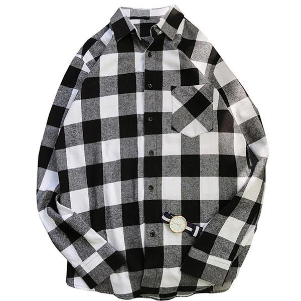Camisa xadrez dos homens primavera outono casual manga longa camisas soltas homens camisas com bolso coreano camisa masculina roupas 5 cor
