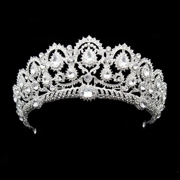 heap Hair Jewelry Big Vintage Rhinestone Prom Queen Crown Crystal Bride Quinceanera Tiaras Bridal Diadem For Pageant Wedding Hair Accesso...