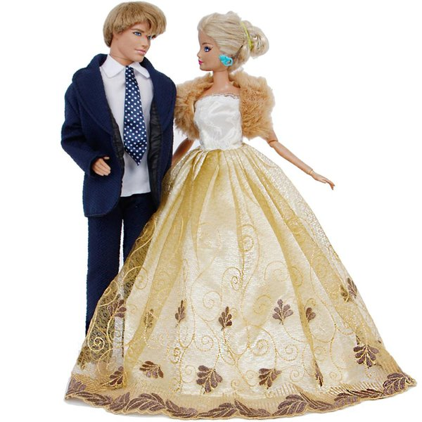 2 Set Handmade Outfits Blue Suit + Wedding Dress Ball Gown with Coat Princess Party Accessories Clothes for Barbie Ken Doll Toy