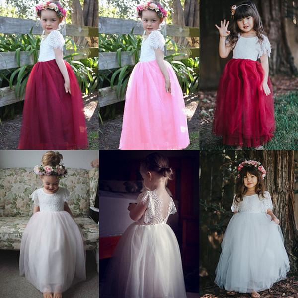 2019 Lovely Baby Girls Vestido de verano INS Vestidos de encaje de manga corta Falda de tul Fiesta Princesa Vestido Toddler Baby Kids Ropa 80-120cm A2205