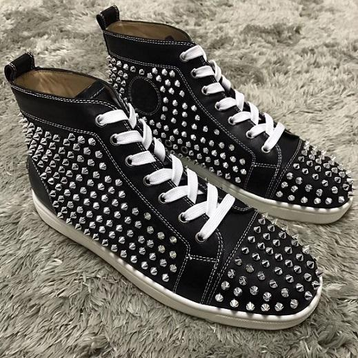 black leather silver spikes