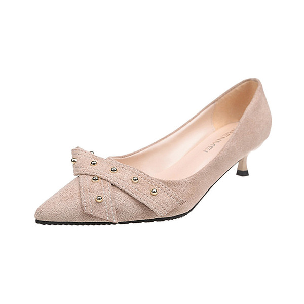 Dress Shoes Muqgew 2019 Elegant Women's Pointed High Heels Wild Bow Rivet Fashion Shallow Mouth Zapatos Mujer #19