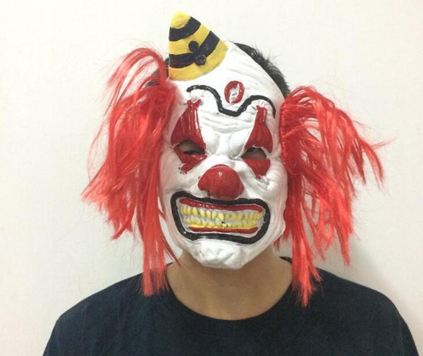 New Redhead Clown Mask Halloween Funny Clown Props Grimace Horror Scary Masquerade Mask Funny Toys factory wholesale