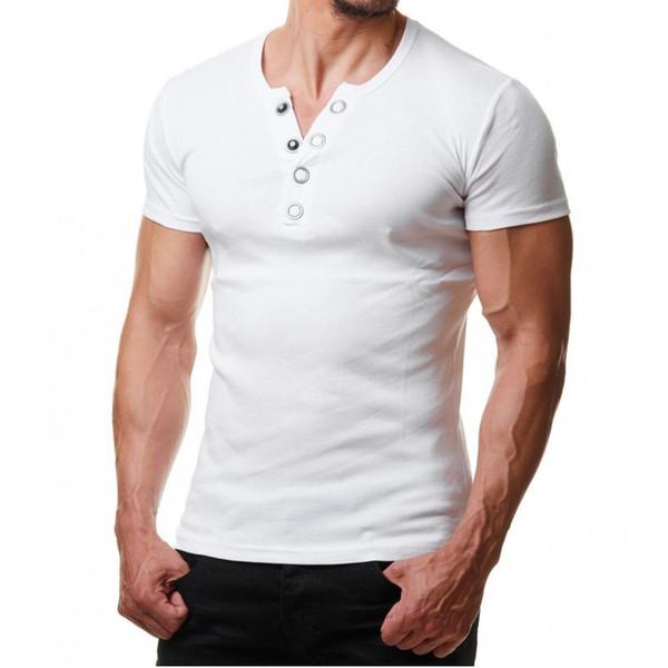 Frieed Mens Slim Fit Short Sleeve V-Neck T-Shirt Hipster Henley Shirt