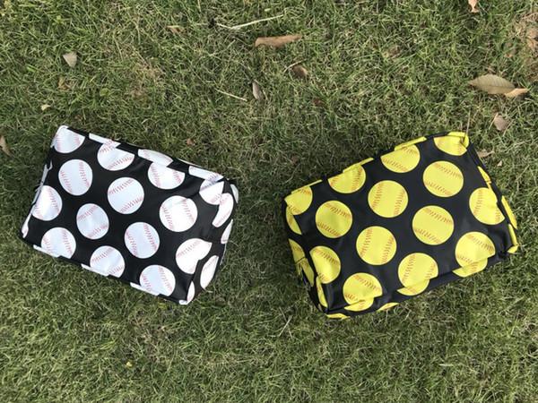Nylon baseball softball cosmetic bag Zipper Make up bags For Toilet Bathing Pouch Travel Women's Travel Cosmetic Bag DHL Free Shipping