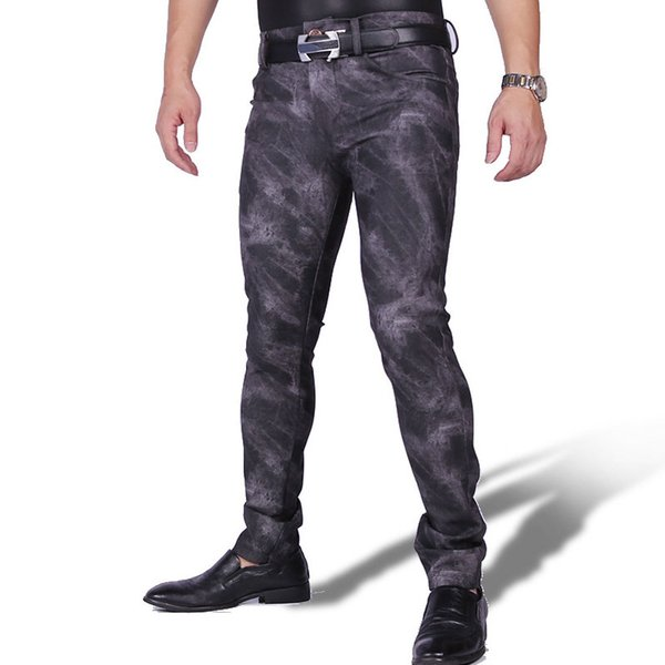 Sexy Men PU Thick Warm Punk Elastic Tight Trousers Camouflage Shiny Pencil Pants Glossy Stage Pencil Pants Jeans Plus Size F118