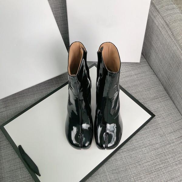 botas de punta dividida de alta calidad 2019 más nuevas Zapatos de mujer de tacón alto de cuero genuino Zapatos de estilo urbano de moda Charol negro