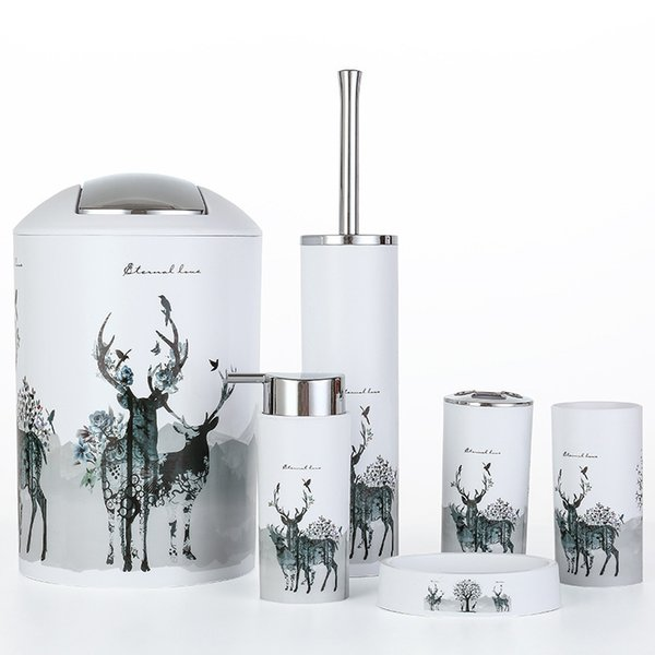 Nordic 6pcs/set Printing Bathroom Accessory Set Lotion Dispenser Toothbrush Holder Tumbler Cup Soap Dish Toilet Brush Trash Can Q190605