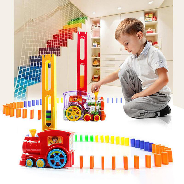 top popular 80 PCS Domino Train Small Trains Cartoon Toys Friends playing Trains & Car Toys Best Gifts for Kids Free Shipping 2020