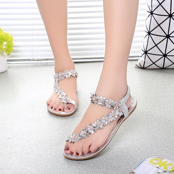 Summer New Fashion Woman Bohemian Sandals Shoes Clip Toe Flowers Flat Shoes Sandals