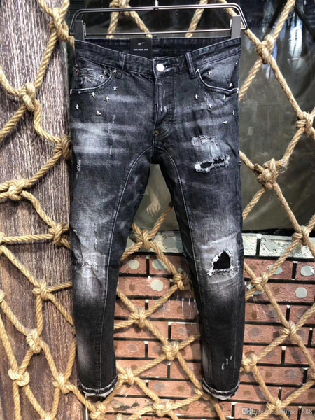 2019 Nuovo arrivo di buona qualità del progettista Uomini denim Pantaloni Fori Moda causale Skinny motociclista denim pantaloni da uomo Jeans