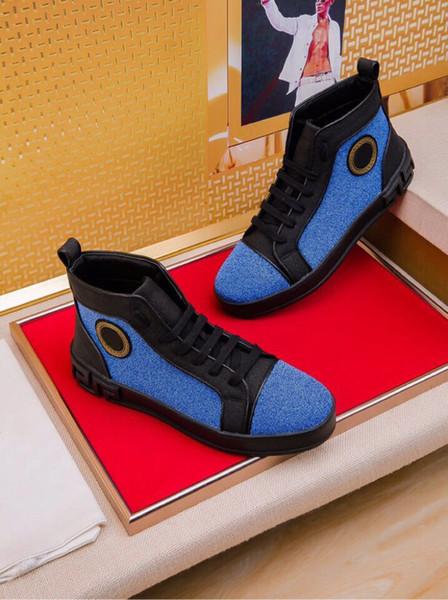 2020 Yeni yüksek top erkek ayakkabı lüks Medusa moda vahşi eğilim altın beyaz düşük ayakkabı moda marka rahat ayakkabılar ücretsiz kargo W1