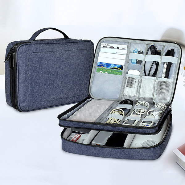 Cable Organizer Bag Portable Case SD Cards Flash Drives Wires Earphones Double Layer Storage Box Travel Electronic Accessories