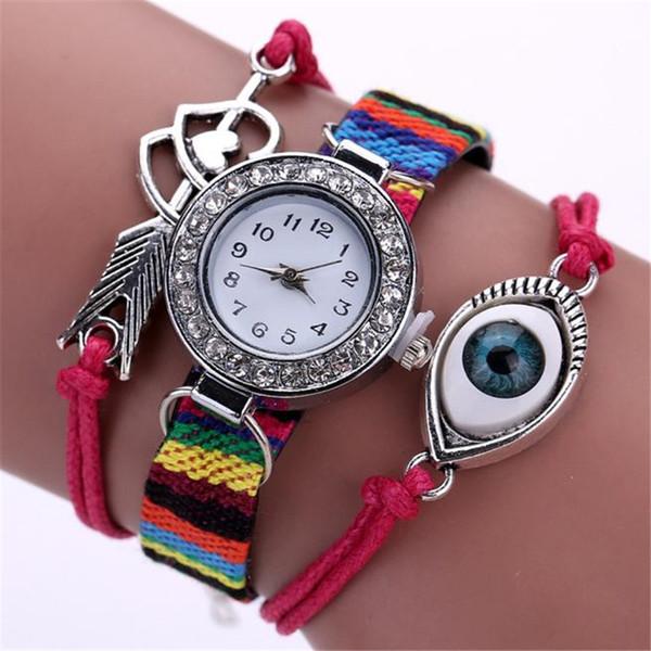 New Fashion Personality Eye Design Wrap Around Bracelet Watch Luxury Crystal Rhinestone Women Quartz Chain Watch Clock Relogio#S