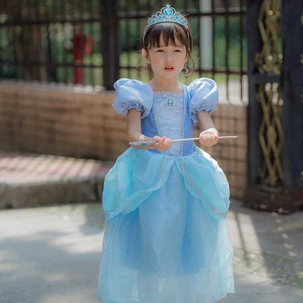 Le ragazze dei bambini vestono 6+ costumi di Halloween per i bambini Snow Queen Cosplay Principessa Fantasia Vestido Infantils Party Perform Dress Manica lunga 2-8T