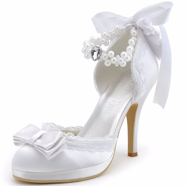 Woman Wedding Shoes Ivory White Closed Toe High Heel Ankle Strap