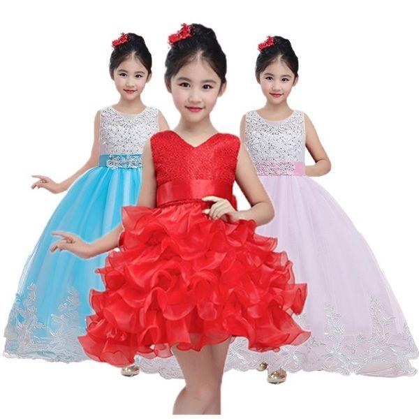 abbigliamento di Natale principessa fiore del vestito dal tutu del vestito dalla ragazza Giovani adolescente festa di nozze Prom Dresses V191109
