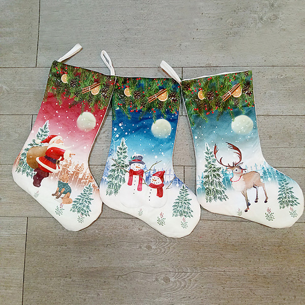 Cute Christmas Stocking Gift Reindeer Snowman Santa Cmas Socks Gift Holder Xmas Tree Navidad Decor Ornament Hanging Santa Bag