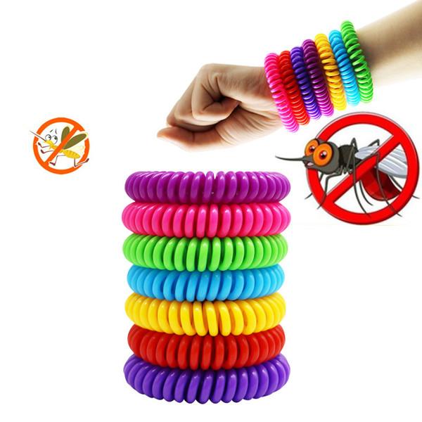 Anti Mosquito Repelente Pulseras Multicolor Control de Insectos Plagas Elástico Bobina Espiral banda de muñeca de mano para Adultos Niños al aire libre