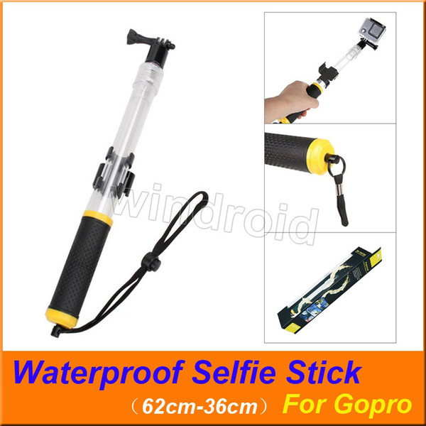 Transparent Floating Waterproof For Gopro Selfie Stick Telescopic Monopod Install Remote Control holder for GoPro HERO Action Camera 20pcs