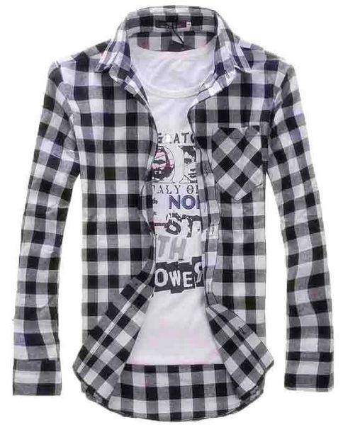 Fashion Men Vintage Shirts Plaid Check Long Sleeve Shirt Slim Fit Shirts for Men High Quality Men's Clothing Shirts M-2XL