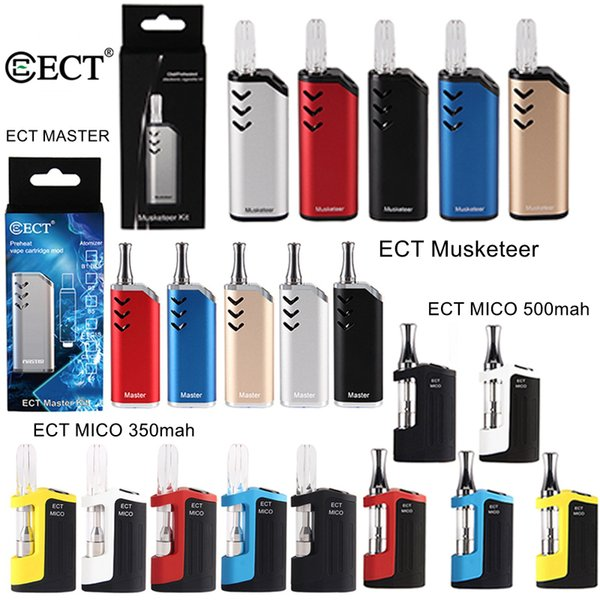 100% Original ECT Master Musketeer Mico Kits 350mAh 500mAh Box Mod For Thick Oil Vape Cartridges Ceramic E Cigarette 510 Thread Battery