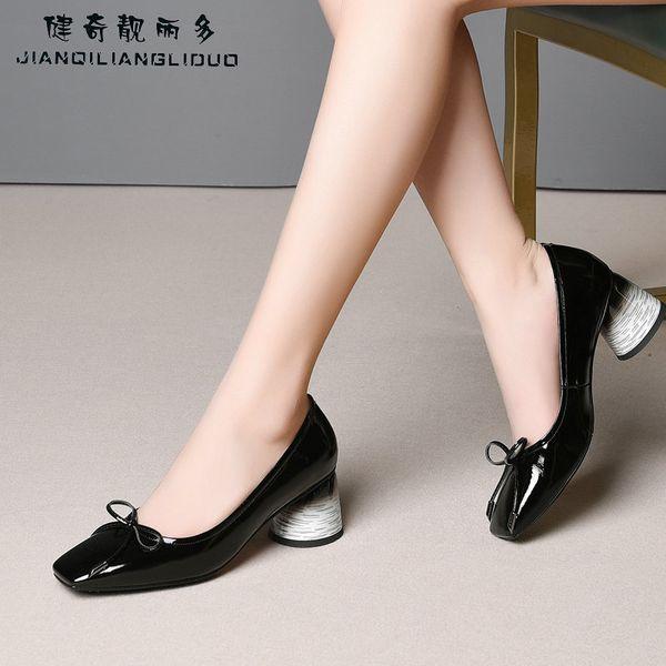 Marca de moda de cuero genuino Square Toe tacones altos mujeres bombas dulce arco zapatos de tacón alto señoras zapatos de boda tacones chicas