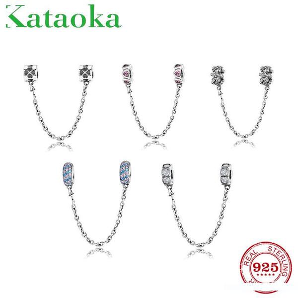 Emniyet Zinciri Fit Orjinal Pandora Charm Bileklik Takı yapımında yuvarlak Gerçek 925 Gümüş takılar Boncuk Pembe kalp çiçek