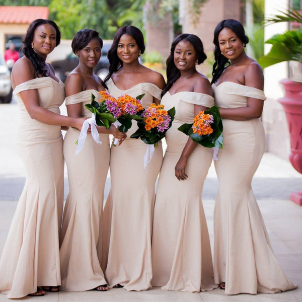 Cheap Champagne Mermaid Bridesmaid Dresses Floor Length Off Shoulder Plus Size Maid of Honor Prom Dresses Custom Made