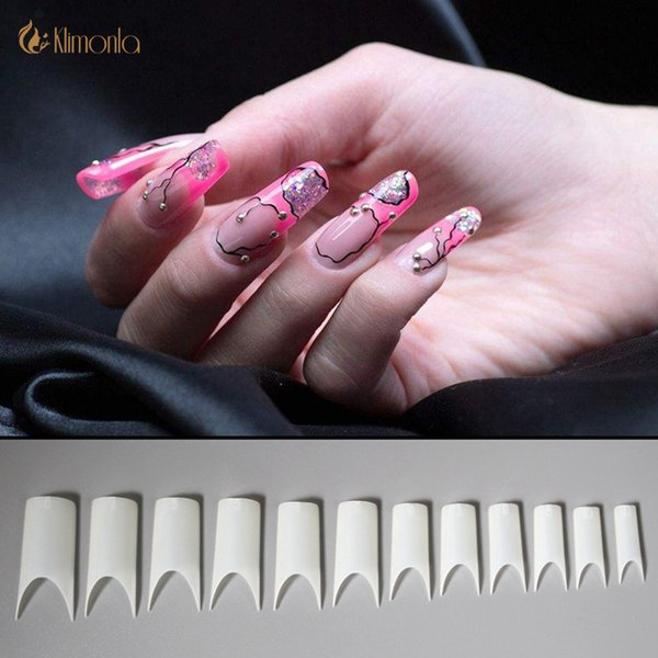 500pcs/bag Natural and White Curved False Nail Art Tips Artificial Manicure Tools New C Shape Half Cover Fake Nail Tips Finger