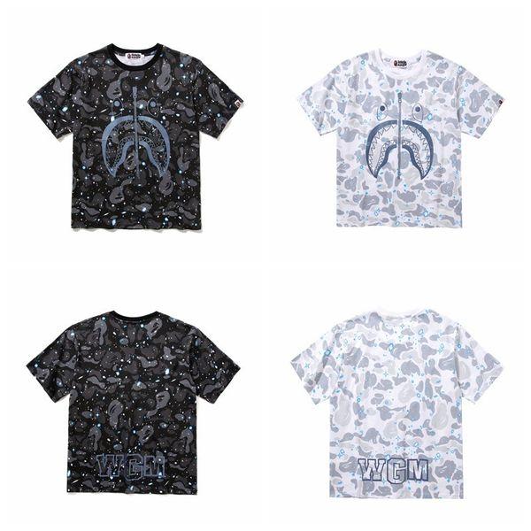 T-shirt dos homens Camuflagem Noctilucan Tubarão T T-shirt Lazer T-shirt Fácil Manga Curta