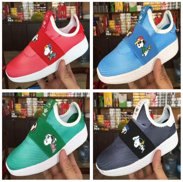air Real boost Boys Girls kanye west sply Children's shoes HUMAN Snoopy Kids Runing Shoes black pirate running Shoes
